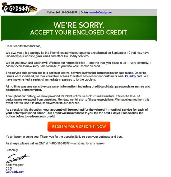 GoDaddy.com Letter and Offer to Customers
