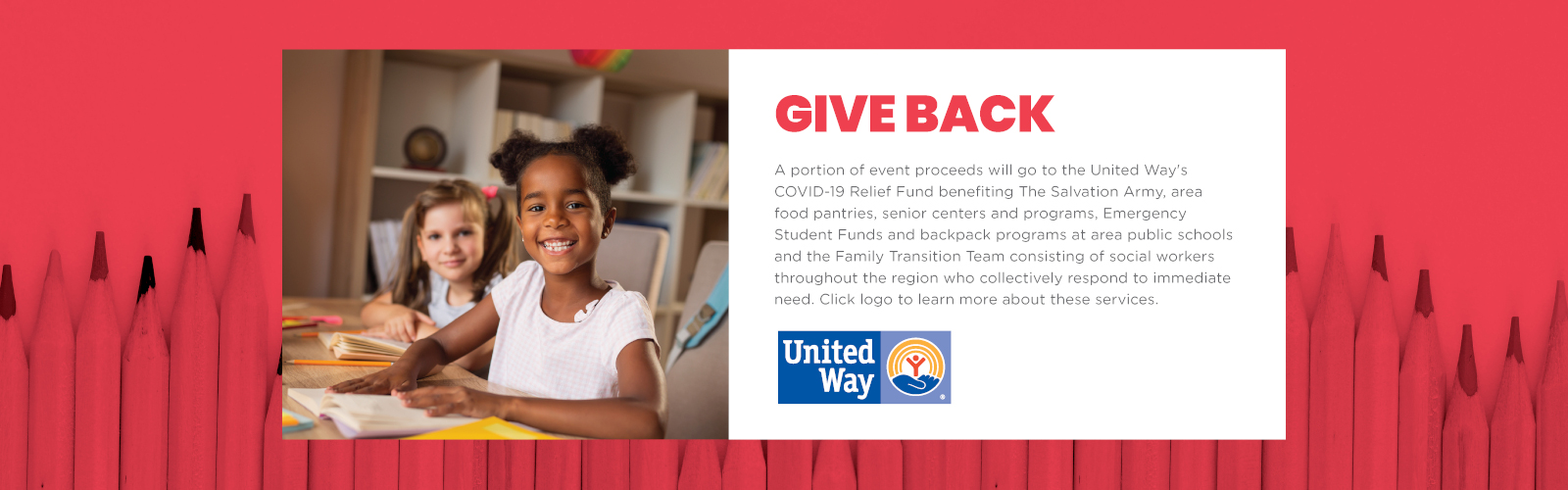A portion of event proceeds will go to the United Way's COVID-19 Relief Fund