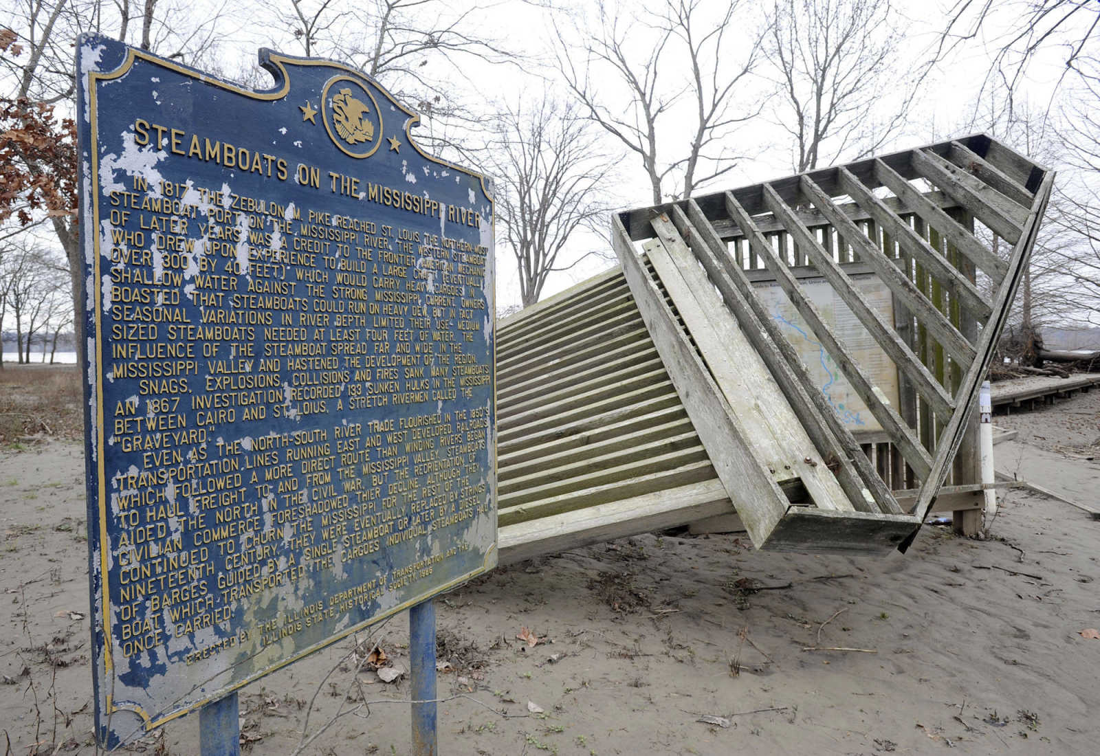 Illinois alexander county thebes - The Mississippi River Flooding Damaged The Historic Marker At Thebes Illinois As Seen Jan 16 2016 Along Highway 3 In Alexander County Fred Lynch