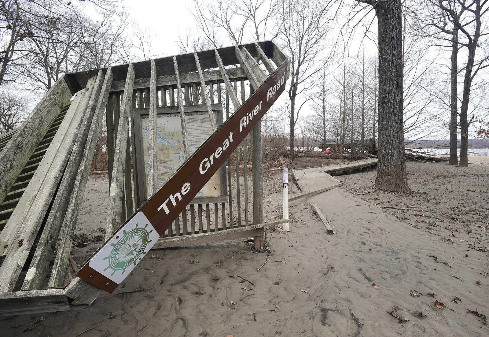Illinois alexander county thebes -  Flooding Damaged The Historic Marker Next To The Boardwalk At Thebes Illinois As Seen Jan 16 2016 Along Highway 3 In Alexander County Fred Lynch