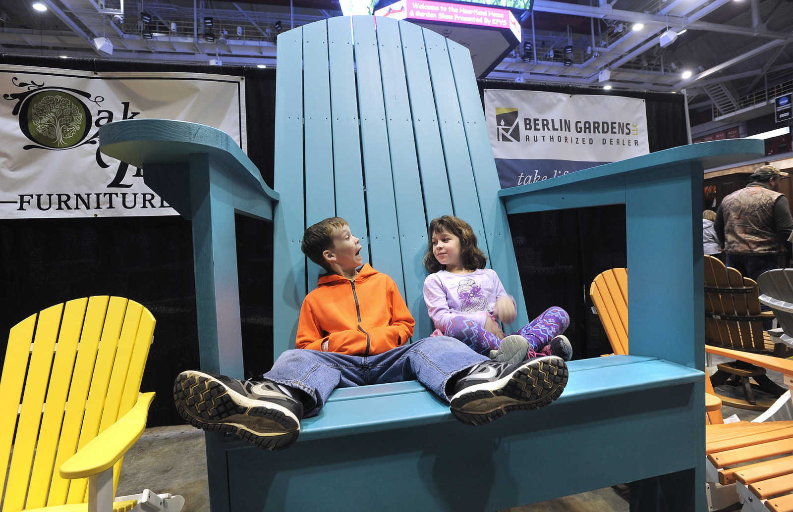 Elias Jackson And His Sister, Lauren Jackson, Of Dongola, Illinois Relax At  The Oak Tree Furniture Exhibit Of The Heartland Home And Garden Show On  Saturday ...