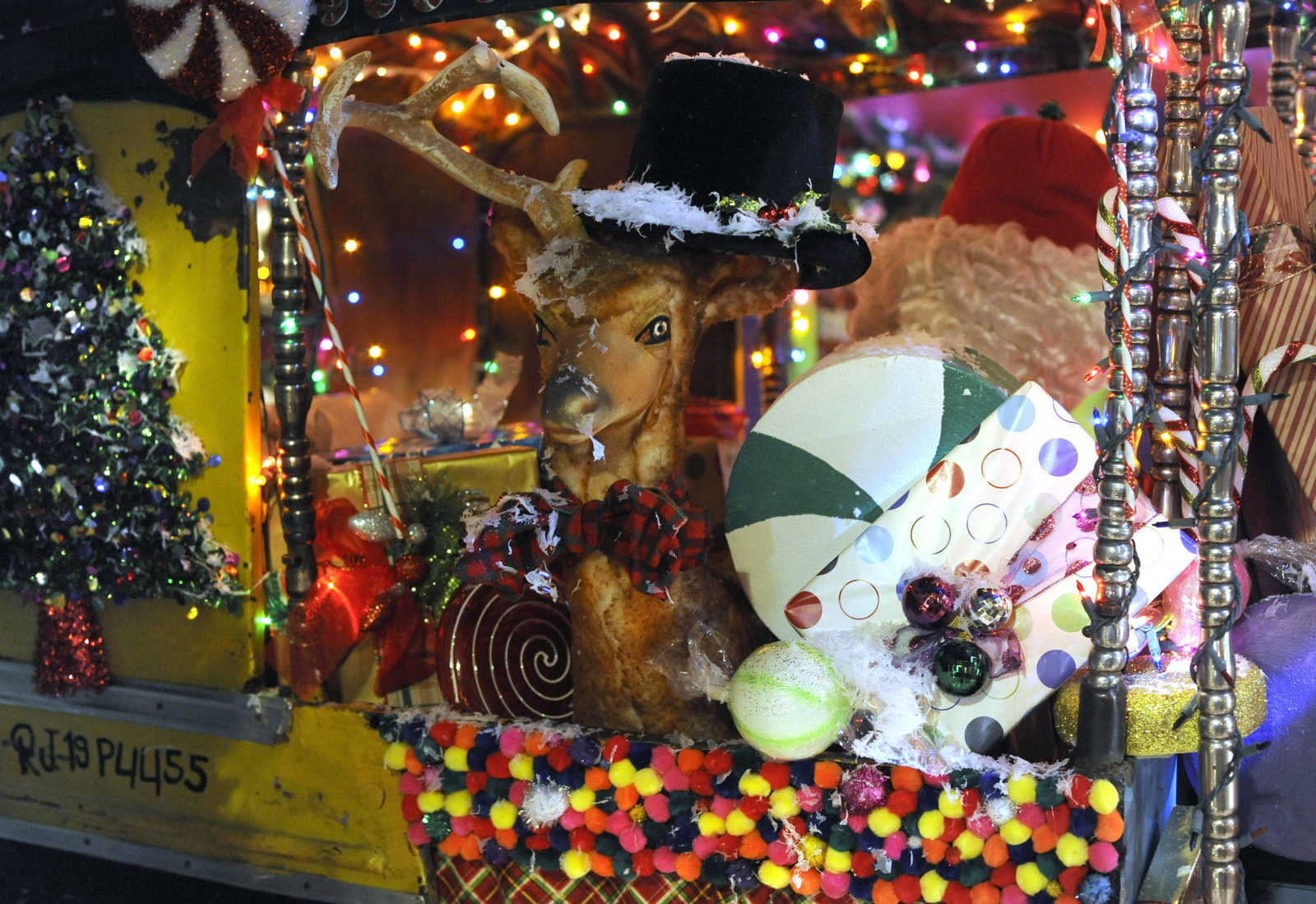 One Of Santau0027s Reindeer Is Depicted Thursday, Nov. 23, 2017 In The  Christmas Window Display At Hutsonu0027s Fine Furniture In Downtown Cape  Girardeau.