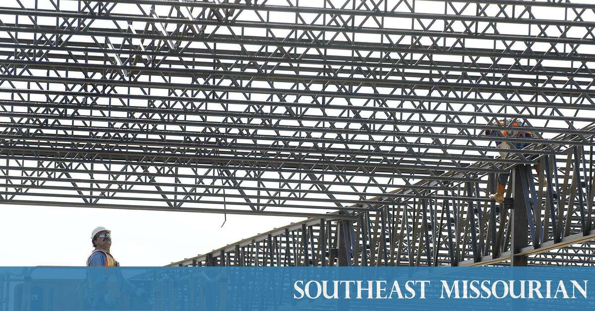 Local News: Steel skeleton of Menards building being erected