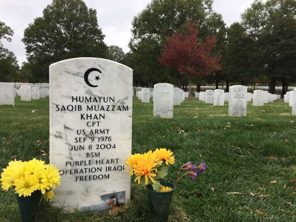 the grave of capt humayun khan at arlington national cemetery in arlington virginia who died in the line of duty in iraq in 2004