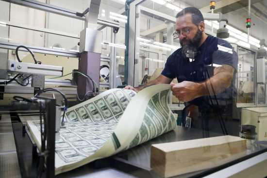 Vincent Tacconelli Aerates Printed Sheets Of Dollar Bills The First Currency Notes To Bear Signatures Treasury Secretary Steven Mnuchin And