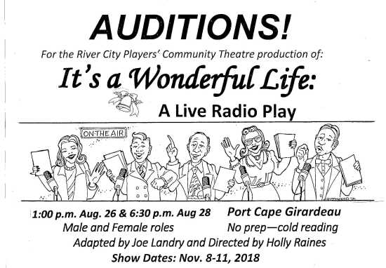 This Sunday, August 26, and Tuesday, August 28 River City Players will be  holding auditions for the November show! Sunday's auditions will be at 1:00  p.m. ...