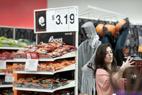 sophia narvaez looks at halloween decorations wednesday oct 3 2018 at a target department store in pembroke pines florida